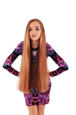 Brunette with very long straight hair. The concept of lifestyle, fashion, health.