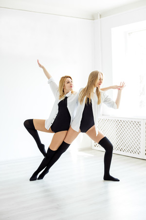 A duet of dancers in training. Concept of sport, dance and healthy lifestyle. 写真素材