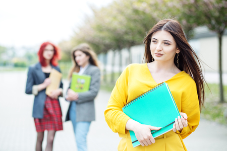 Beautiful girl student standing with a folder. Education concept, exams, friendship and group of people.