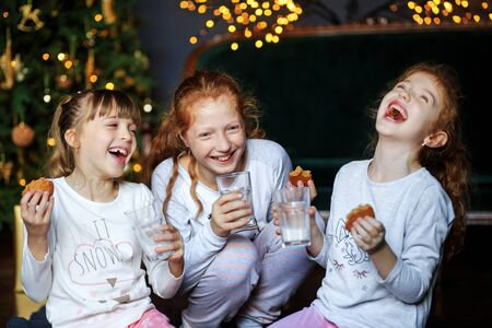 Children tell funny stories to each other. Sisters drink milk, eat cookies near the Christmas tree. Sisters in pajamas. The concept of Merry Christmas, holidays, New Year, family and gifts. 写真素材