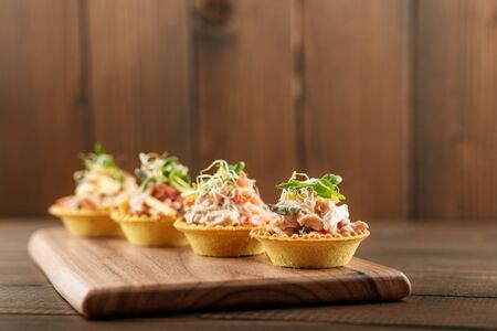 Tasty appetizers with meat and vegetables and microgreen. Concept of food, restaurant, catering, menu.