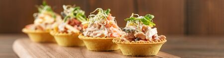 Tasty appetizers with meat and vegetables and microgreen. Banner for site. Concept of food, restaurant, catering, menu.