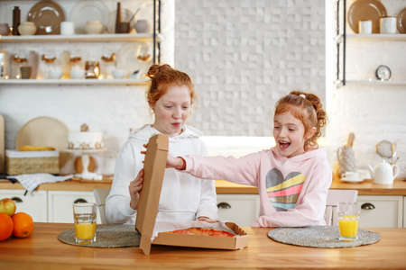 Two young teenage girls with red hair sitting in the kitchen enjoying pizza.