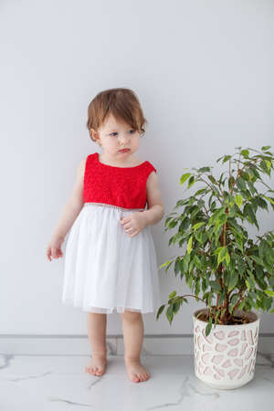 A little girl in a red shirt and skirt stands near a large house plant.