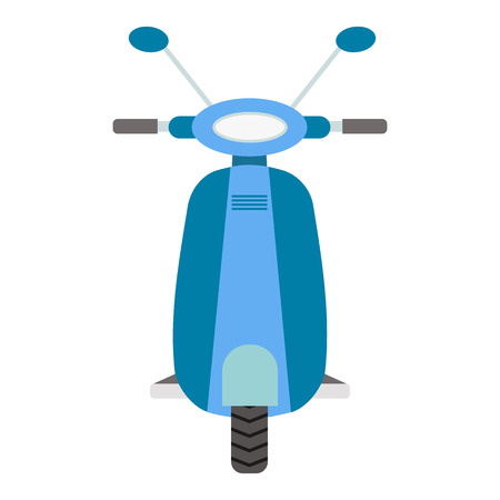 Front view blue scooter illustration. Flat design element. Small motocycle or moped isolated on white background.