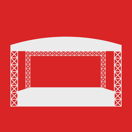 Outdoor rock concert or open air festival white stage with round roof vector flat icon or logo template. Isolated on red background.