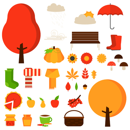 Set of autumn fall elements or symbols. Vector flat icon set and illustrations. Tree, leaf, flower, boots, sun, cloud, pie, umbrella, socks, apple, cup, pumpkin, scarf, bench, mushroom.