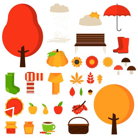 Set of autumn fall elements or symbols. Vector flat icon set and illustrations. Tree, leaf, flower, boots, sun, cloud, pie, umbrella, socks, apple, cup, pumpkin, scarf, bench, mushroom.