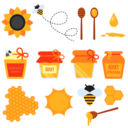 scale: Set of honey flat design elements. Vector flat illustration of bee-keeping element. Honey jar, flying bee, honeycom, sunflower, pot, dipper stick. Easy to scale and recolor. Stock Photo
