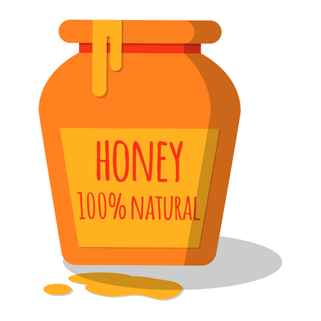 Honey pot with dripping honey. Flat vector illustration with shadow. Easy to scale and recolor. Eps10.