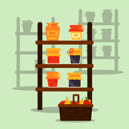 scale: Farmer local market. Stand or stall with honey, jam and juice jar. Basket with fruits. Modern flat vector illustration. All objects are grouped Easy to recolor and scale Eps10