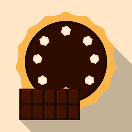 Homemade pie. Flat vector illustration isolated on the background. Pie with cream. Top view. Could be used as icon or design element. Easy to scale and recolor. Eps10