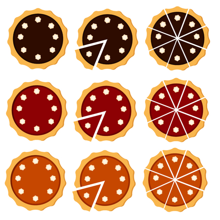 Homemade pie. Flat vector illustration isolated on white background. Sliced pie with cream. Top view. Could be used as icon or design element. Easy to scale and recolor. Eps10 Illustration