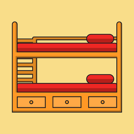 bedstead: Bunk bed with stairs, wooden bunk decker bed, bed for children in flat linear style with shadow, vector illustration isolated on the background.