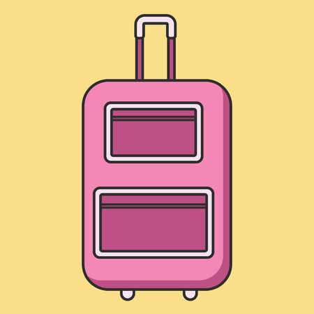 rolling bag: Rolling pink suitcase in flat linear style with shadow. vector illustration isolated on the background. Could be used for icon and infographic. Stock Photo