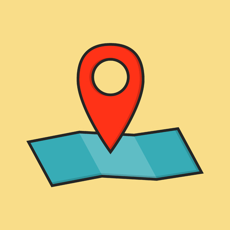 road position: Flat colored location icon. Red map pin sign with blue map in linear style. vector illustration isolated on the background.