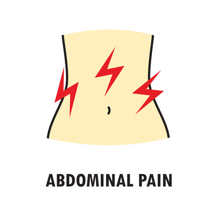 Abdominal pain or stomach-ache. Logo or icon