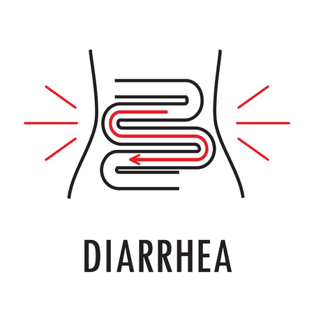 colon: Diarrhea or food poisoning. Logo or icon template in linear style isolated on white background. Illustration