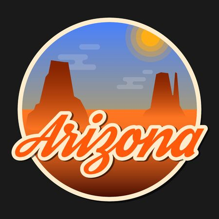 monument valley: Travel Arizona destination retro round icon, emblem, sticker or badge in cartoonflat style with shadow. Day in Monument Valley, USA. . Stock Photo