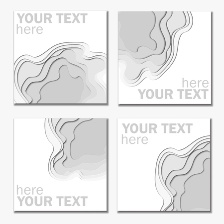 3d abstract paper cut white and graybackground vector rectangle
