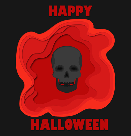 Happy halloween 3d abstract paper cut illlustration of black skull and pool of blood. Vector template carving style