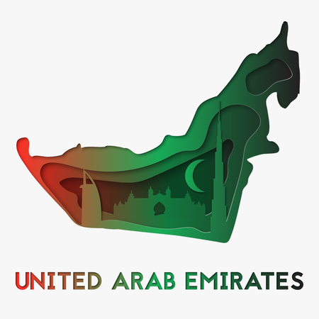 3d abstract paper cut illustration of United Arab Emirates map. Vector travel template in carving art style.