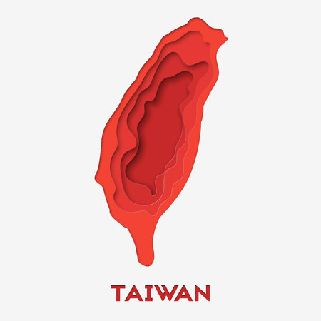 3d abstract paper cut illlustration of Taiwan red map. Vector travel template in carving art style. Illustration