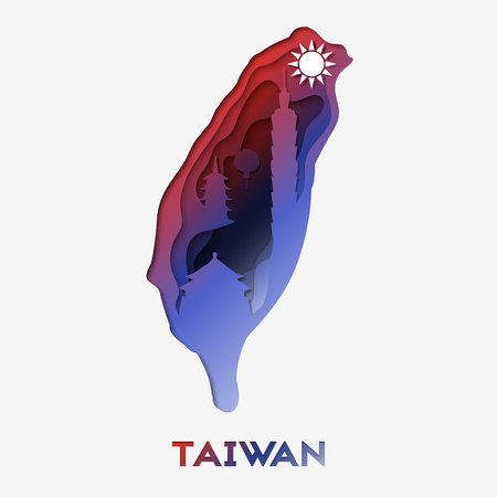 3d abstract paper cut illlustration of Taiwan map with famous destinatons and buildings. Vector travel template in carving art style. Illustration