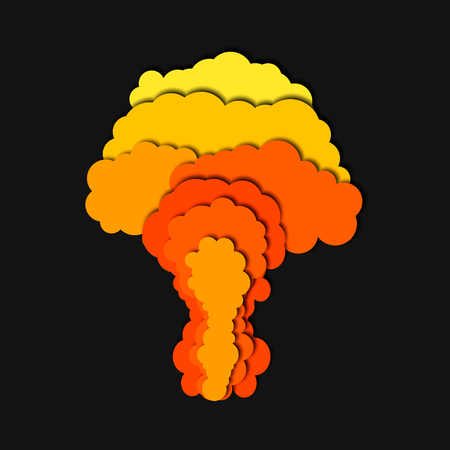 Nuclear power plant explosion isolated. 3d abstract paper cut background. Illustration