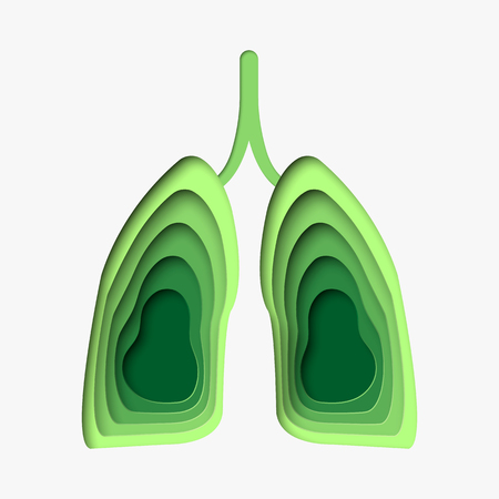 Green lungs in paper craft style. 3d abstract paper cut illustration. Vector template in carving art style. Eps10. Illustration