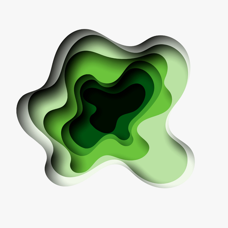 Abstract green wave background with paper cut shapes. Vector design layout for business presentations.