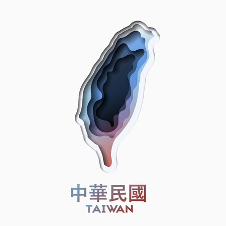3d abstract paper cut shapes illlustration of Taiwan map. Vector travel poster or banner template in carving art style. Eps10.