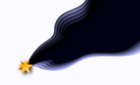Sternschnuppen 3d überlagerte Papierschnittillustration Führung
