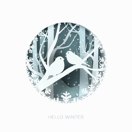 Hello winter 3d abstract paper cut illustration of snow and two birds in the forest. Vector colorful template greeting card in carving art style. Illustration