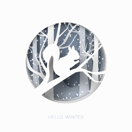 Hello winter 3d abstract paper cut illustration of snow and squirrel in the forest. Vector colorful template greeting card in carving art style.