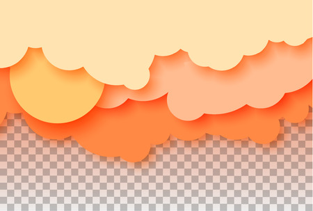 3d abstract paper cut illustration of pastel orange sky, sun and clouds. Vector colorful template for banner, flyer, poster or iinvitation in paper art style. Eps10. 向量圖像