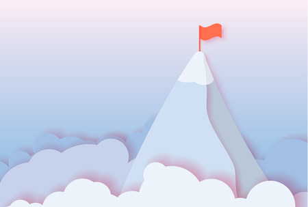 3d abstract paper cut illustration of morning blue and pink sky, clouds and mountain with flag. Goal and lidership concept. Vector colorful template in paper art style.