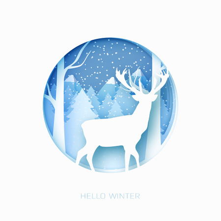 3d abstract pastel paper cut illustration of snow and deer in the forest Vector