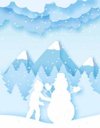 3d abstract pastel paper cut illustration of boy building snowman. Vector colorful template greeting card in carving art style.