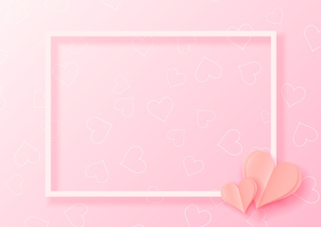 3d abstract paper cut illustration of pink heart shape with white frame. Vector colorful greeting card template in carving art style.