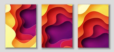 Bannières A4 verticales avec fond abstrait 3D avec des vagues et du papier découpés en papier rouge, violet, violet, jaune. Couleurs contrastées. Disposition de conception de vecteur pour des présentations, des dépliants, des affiches