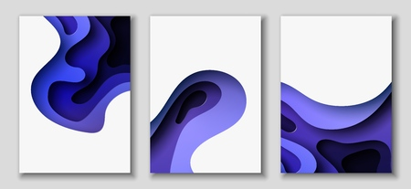Vertical A4 banners with 3D abstract background with blue paper cut waves and background. Contrast colors. Vector design layout for presentations, flyers, posters.