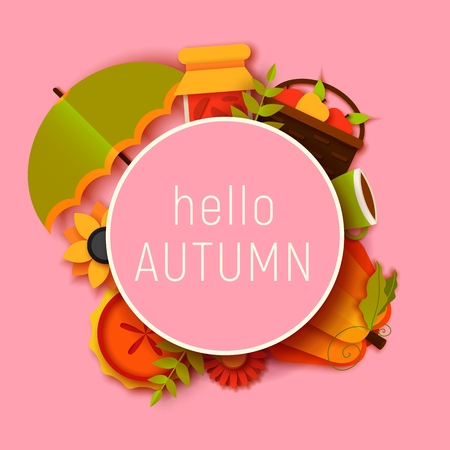 hello autumn greeting card template. Fall illustration with paper cut flowers, leaves, pumpkin, pie, umbrella. jam, cup, fruits banner in trendy craft style. Illustration