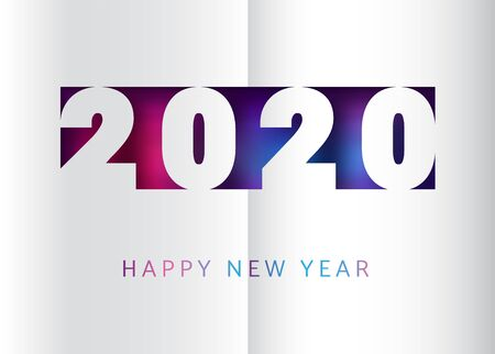 Happy new year 2020 vector banner template in trendy paper cut style. Gradient background with vivid and contrast neon colors.
