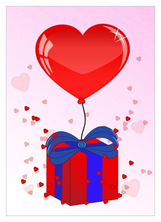 pretty red heart and ballon, present  for valentine photo