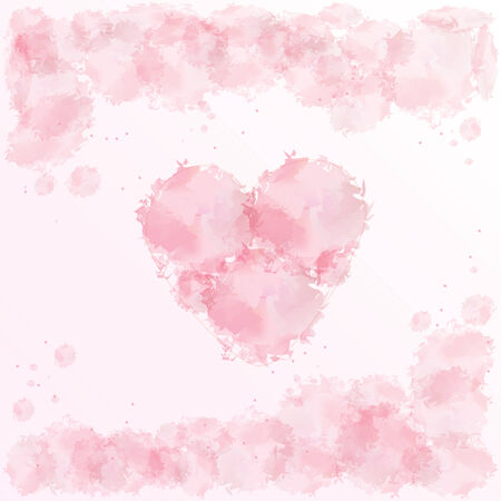 watercolor pink heart for valentines day photo