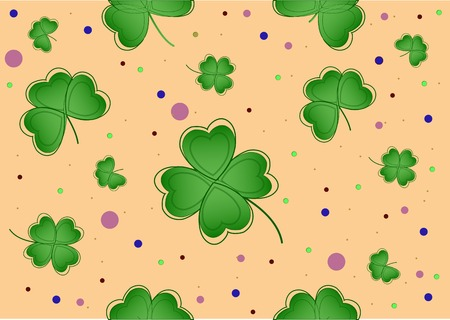 Nice  lucky clover on the yellow Vector