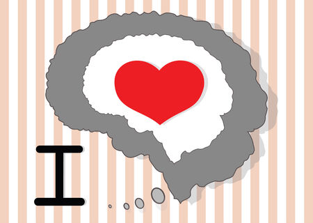 Brain and red heart on the beautiful icon