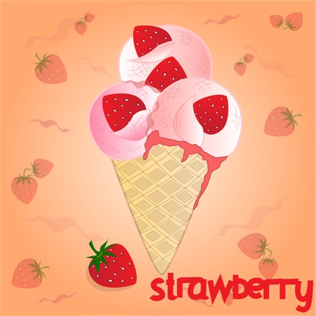 raisin: strawberry ice cream on the orange background Stock Photo