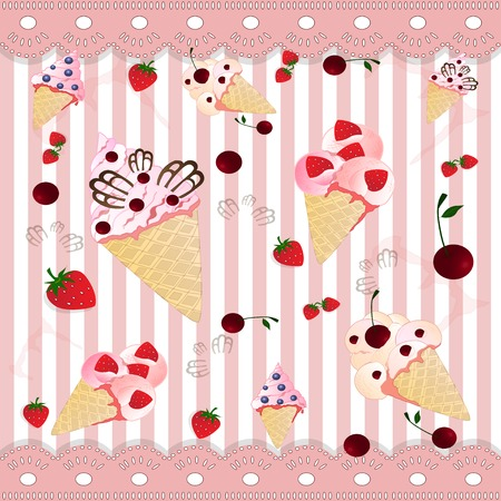 cold ice creams on the  stripped pink  background photo